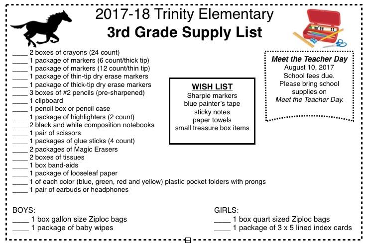 Kindergarten Reading Calendar : Supply lists trinity elementary school