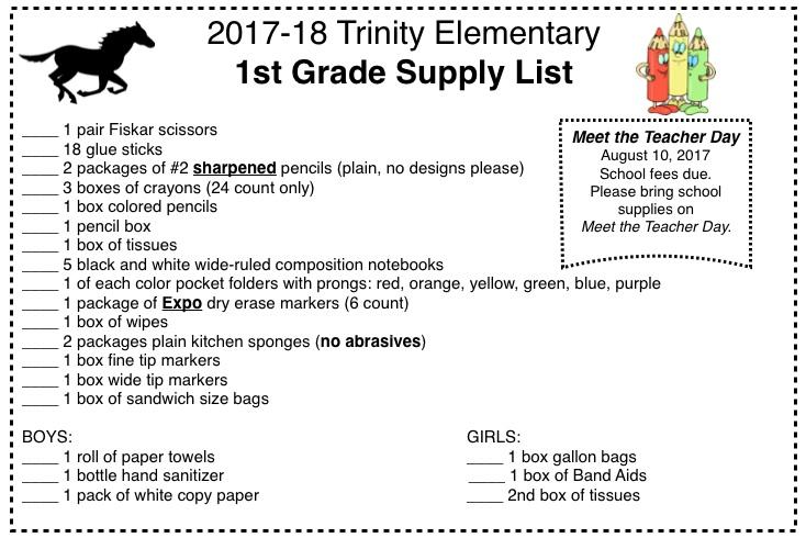 Supply Lists Trinity Elementary School