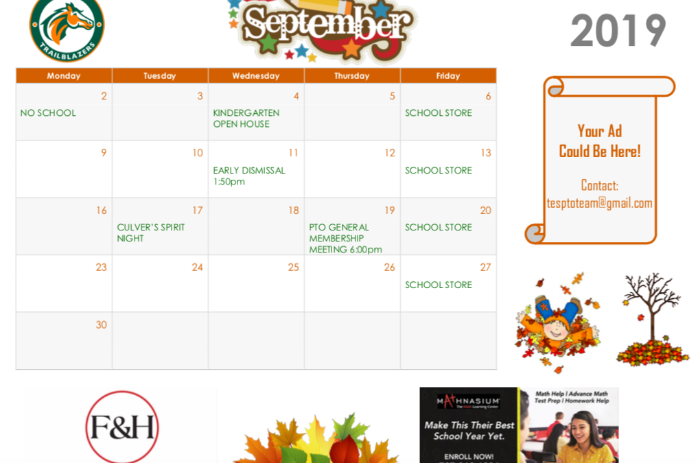 September Parent Calendar