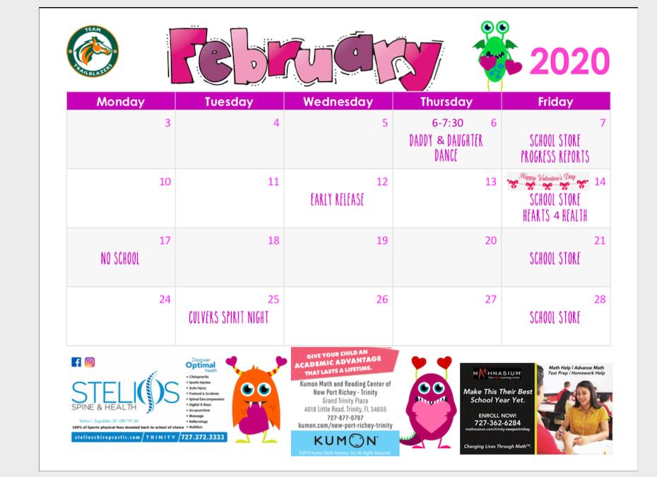 February Parent Calendar