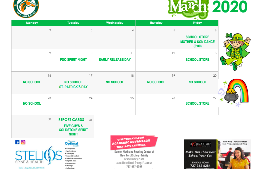 March Parent Calendar