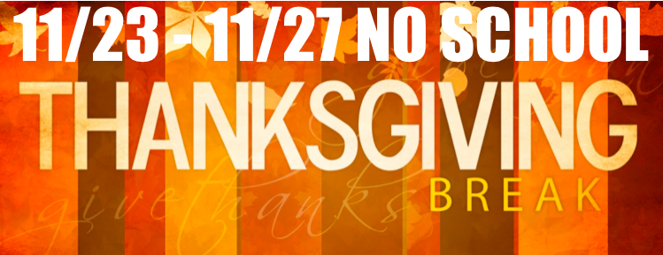 Thanksgiving Break 11/23 – 11/27 | Trinity Elementary School