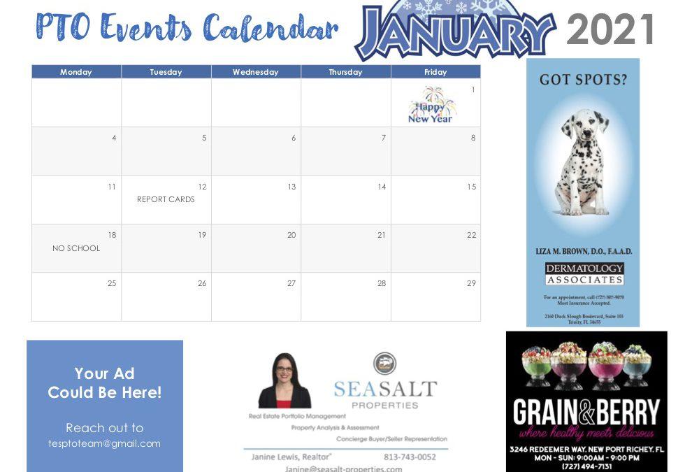 January PTO Calendar of Events