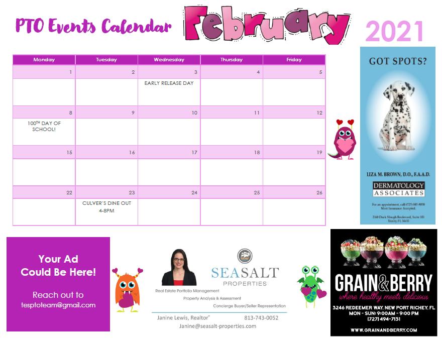 February PTO Calendar of Events
